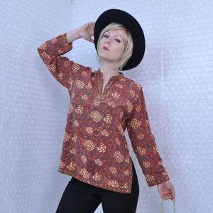 Vintage 1970s brown floral boho silk blouse